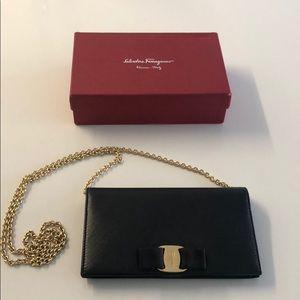 Ferragamo Vara Leather Wallet on Chain